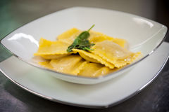Ravioli with butter and sage Royalty Free Stock Image