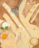 Ravioli casalinghi italiani con la ricotta, la farina, l'uovo, la pasta cruda e le erbe aromatiche, disposti su una tavola di leg Immagini Stock Libere da Diritti