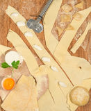 Ravioli caseiro italiano com a ricota, a farinha, o ovo, massa crua e as ervas aromáticas, colocados em uma tabela de madeira rús Imagens de Stock Royalty Free