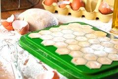 Ravioli faits maison Pâte fraîche et ravioli traditionnels à la table rustique photo stock