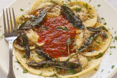 Ravioli filled with beef, pork and mushrooms Stock Photography