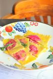 Ravioli. Filled with beetrot and ricotta Stock Photo