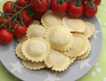 Ravioli filled with meat royalty free stock photo