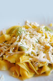 Ravioli filled with spinach and ricotta, Italian egg pasta Stock Photo