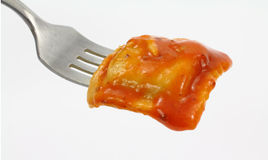 Ravioli on Fork Stock Images
