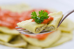 Ravioli on a fork Royalty Free Stock Photography