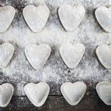 Ravioli a forma di del cuore Fotografie Stock