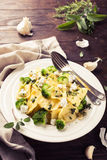 Ravioli with goat cheese, broccoli and herbs Royalty Free Stock Images