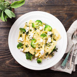Ravioli with goat cheese, broccoli and herbs Royalty Free Stock Image