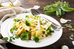 Ravioli with goat cheese, broccoli and herbs Royalty Free Stock Photography