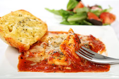 Ravioli with Green Salad and Crusty Bread Royalty Free Stock Photo