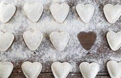 Ravioli Heart-shaped imagens de stock royalty free