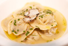 Ravioli with herbs and sliced truffle Royalty Free Stock Photo