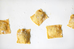 Ravioli homemade, stuffed with cheese filling, dusted Royalty Free Stock Photo