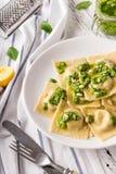 Ravioli italiano dos espinafres com molho e Parmesão do pesto imagem de stock