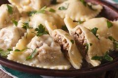 Ravioli italiens avec le plan rapproché de viande d'un plat brun horizontal Photos stock