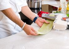 Ravioli making process Stock Photo