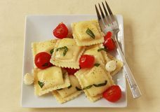 Ravioli med tomaten och basilika Arkivbild