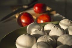 Ravioli med tomaten på bakgrunden av trä Royaltyfri Bild