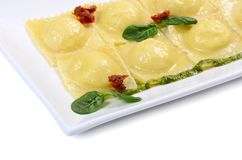 Ravioli met spinazie en Rikotta Stock Foto