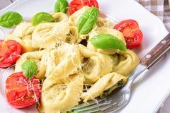 Ravioli met spinazie vullende, geraspte kaas en cocktail tomatoe Royalty-vrije Stock Fotografie