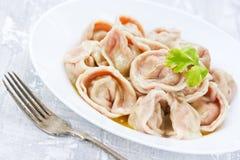 Ravioli o gnocchi variopinti casalinghi della pasta con carne di riempimento v Fotografie Stock