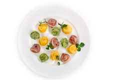 Ravioli Of Different Colors Top View Stock Photo