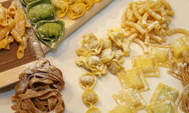 Ravioli and other homemade pasta in Italy with egg and flour Royalty Free Stock Photo