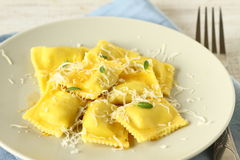 Ravioli with parmesan cheese Royalty Free Stock Image