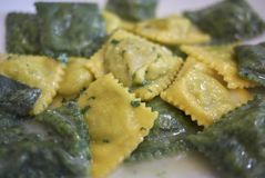 Ravioli pasta with butter and sage. Served in Italy stock image