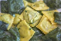 Ravioli pasta with butter and sage. Served in Italy royalty free stock photography