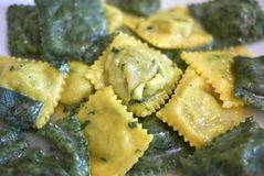 Ravioli pasta with butter and sage. Served in Italy stock photos