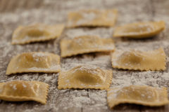 Ravioli pasta dusted with floor on wooden background Stock Images