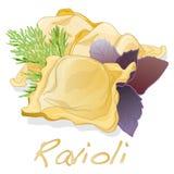 Ravioli pasta isolated vector illustration