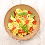 Ravioli pasta. With tomato and basil Stock Images