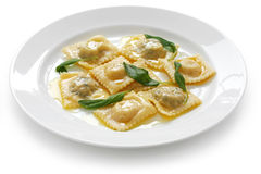 Ravioli pasta with sage butter. Homemade ravioli pasta with sage butter sauce , italian food Royalty Free Stock Photo