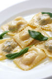 Ravioli pasta with sage butter Stock Photo