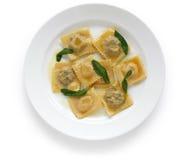Ravioli pasta with sage butter. Homemade ravioli pasta with sage butter sauce , italian food stock photos