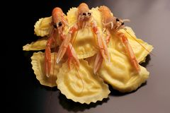 ravioli stuffed with scampi royalty free stock photo