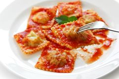 Ravioli pasta with tomato sauce , italian food Stock Photography