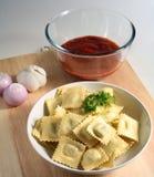 Ravioli Pasta Tomato Sauce Raw Royalty Free Stock Image