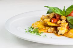 Ravioli pasta traditional italian food with tuna, basil, tomato,. Hand made typical italian pasta named ravioli. Special pasta called also caramelle royalty free stock image