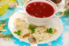 Ravioli (pierogi) and red borscht for christmas Stock Image