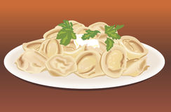 Ravioli in a plate. To dinner Royalty Free Stock Images