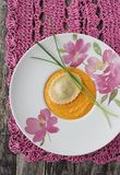 Ravioli with  pumpkin-cream garnish Royalty Free Stock Photography