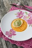 Ravioli and pumpkin-cream puree Royalty Free Stock Images