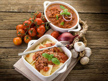 Ravioli with ragout sauce Royalty Free Stock Images