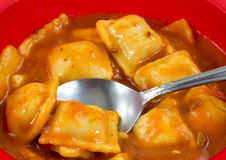 Ravioli in a red bowl with a spoon Royalty Free Stock Photos