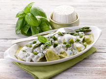 Ravioli  with ricotta and basil Stock Photos