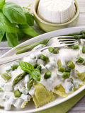 Ravioli  with ricotta and basil Stock Image